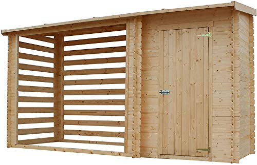 TIMBELA Holzhaus Gartenhaus mit Brennholzregal M205 - Gartenschuppen Holz B344xL146xH199 cm/ 3.64 m2 Lagerschuppen für Garten - Holzhalter mit Wasserfestes Dach