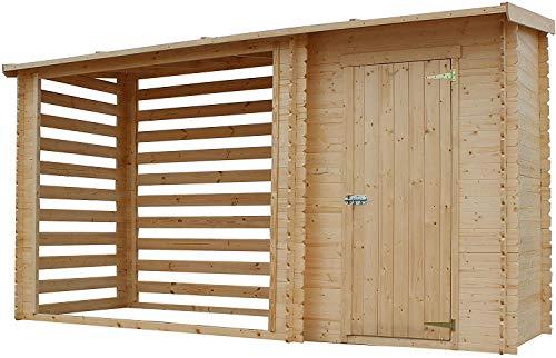 TIMBELA M205 Blockbohlen Gartenhaus Kaminholz Unterstand/Fahrrad Gerätehaus/Überdachung für Behälter- H199 x 344 x 130 cm - 2,54 m2+1,1 m2