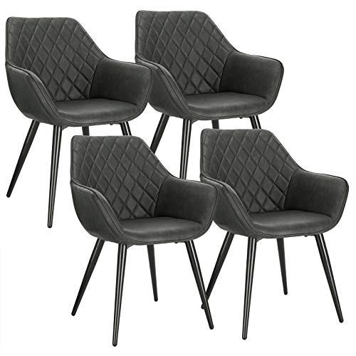 WOLTU BH251an-4 4X Esszimmerstühle Küchenstühle Wohnzimmerstuhl Polsterstuhl Designstuhl mit Armlehne und Rückenlehne Sitzfläche aus Kunstleder Metallbeine Anthrazit