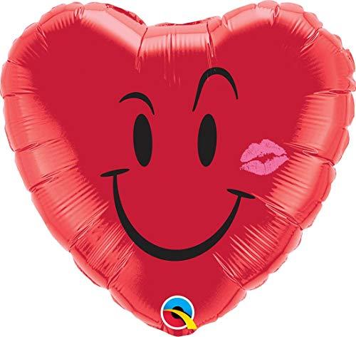 Folienballon smily HERZ rot (ca.45cm) Ballon Luftballon ungefüllt Taufe Geldgeschenk