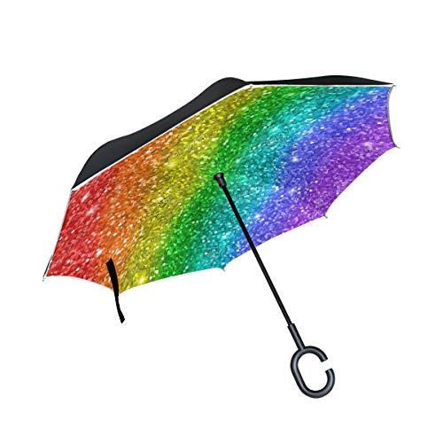 Wamika Regenbogen-Regenschirm, Mehrfarbig, glitzernd, wendbar, doppelschichtig, Winddicht, selbststehend, UV-Schutz, Nicht automatisch, groß, gerade, auf der Kopfseite, C-förmiger Griff für Auto