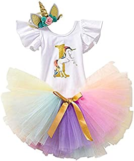 HOLOMALL Baby Girls Birthday Party Dress Outfit Short Sleeve Unicorn Romper+Lace Skirt+Headband 3Pcs Clothes(0-12 Monthes) (Colorful)