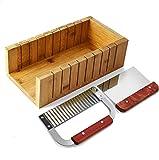 POFET Juego de cortador de jabón, herramienta de molde de madera para hacer jabón, corte de pan, kit de cortador de barras con un cortador recto y ondulado de acero inoxidable