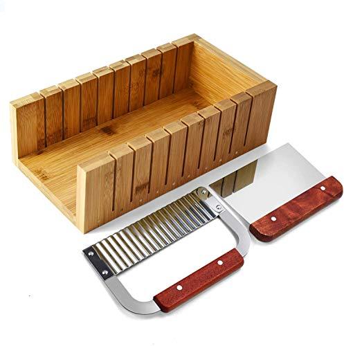 POFET Juego de cortador de jabón, herramienta de molde de madera para hacer jabón de corte de pan, kit de cortador de barra con un cortador recto y ondulado de acero inoxidable