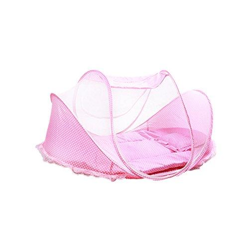 Lit pliable portatif de Lit de Voyage de Bébé de lit de Bébé de Moustiquaire pour 0-3 ans Bébé (pink)