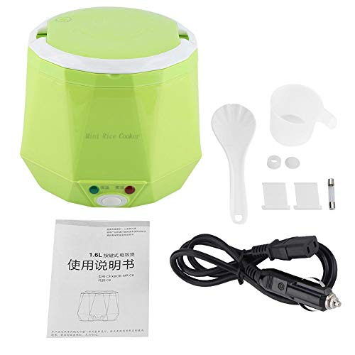 Mini-rijstkoker, kleine rijstkoker, draagbaar 1,6-liter stoompan, geschikt voor het koken van soepen, rijst, stoofschotels, granen en havervlokken op reis. 1