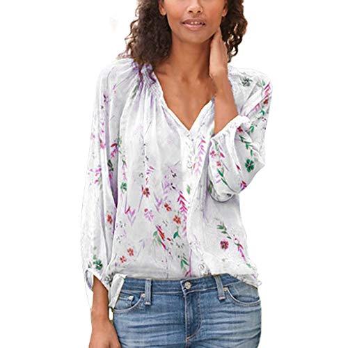 Damen Oberteile Elegant Langarm Bluse Floral mit Tasten V-Ausschnitt Tunika Lose Casual Top Locker Langarmshirts mit Knopfleiste Frauen Hemd Pullover Sweatshirt S-XXXXXL