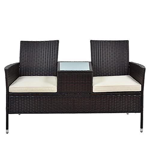 Moimhear Gartenmöbel Set, Polyrattan Gartenbank Gartensofa Garten Möbel Mit Tisch 2 Sitzer, Rattan Design (Braun)