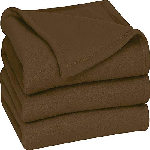 Utopia Bedding Fleece Blanket Twin Size Chocolate Soft Warm Bed Blanket Plush Blanket Microfiber