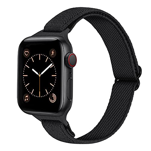 AFERIY Slim Stretchy Nylon Solo Loop Bands Compatible with Apple Watch Band 40mm 38mm, Thin Breathable Adjustable Braided Sport Elastics Strap Women Men for iWatch Series 6/5/4/3/2/1 SE