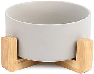 Petstwo ペット ボウル 犬 猫食器 陶器 スタンドセット猫ボウル 木製えさ入れ850ml 大容量 ごはん皿 お水入れ 猫犬用 (グレー)