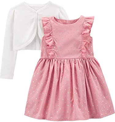 Simple Joys by Carter s Girls Toddler 2 Piece Special Occasion Dress and Cardigan Set Pink Dots product image