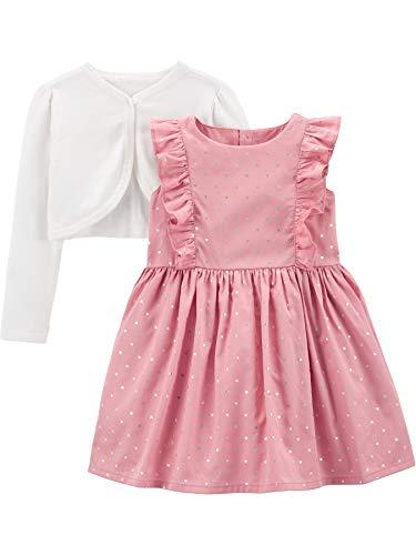 Simple Joys by Carter's Conjunto de Vestido y cárdigan de 2 Piezas para Ocasiones Especiales Niñas, Pack de 2