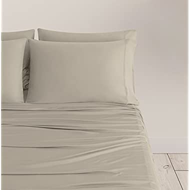 SHEEX - Breezy Cooling Sheet Set with 2 Pillowcases, Ultra-Lightweight, Breathable, Silky-Soft Fabric for a Cool and Comfortable Night's Sleep, Tan (King)