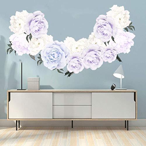 N-brand PULABO - Adesivo da parete con rose e fiori di peonia, decorazione per la cameretta dei bambini, idea regalo per soggiorno, camera da letto, cucina, ristorante