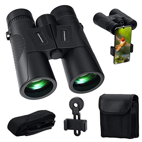HONEYWHALE Fernglas 12x42 HD kompakt Ferngläser für Kinder und Erwachsene für Reisen Vogelbeobachtung Sport Jagd,FMC-Linse,Fernglas mit Tragetascheund Smartphone-Adapter