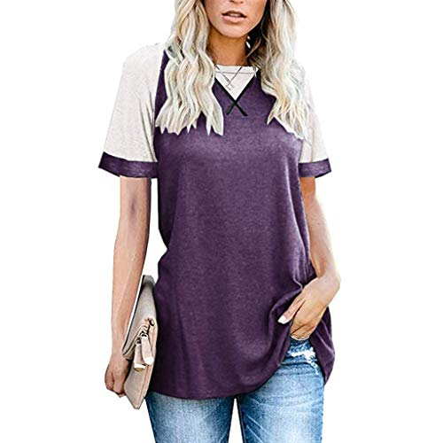 Read About JOYFEEL Womens Short Sleeve Shirts Color Block Crew Neck Blouse Leopard Printed Casual Lo...