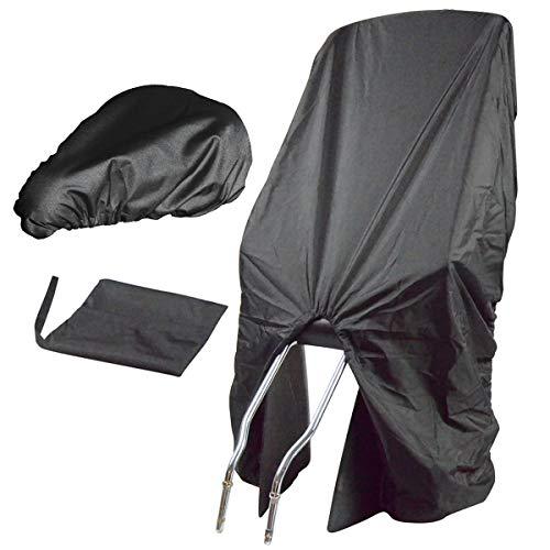 TROCKOLINO Set - Regenschutz für Fahrrad-Kindersitz und Sattel, schwarz