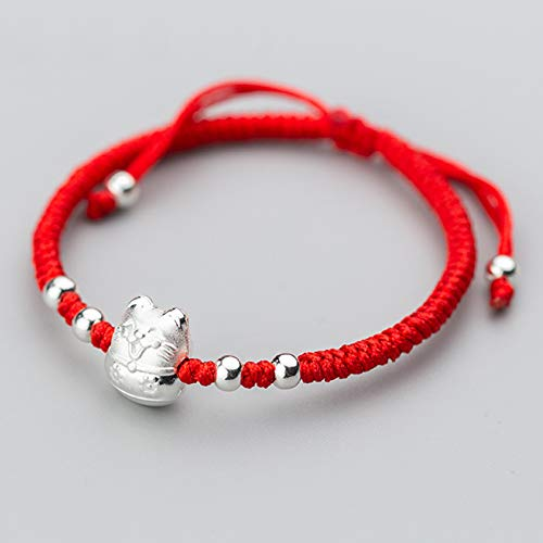 Red String Bracelet S999 Pure Silver Cute Cat Hand Woven Charm Adjustable Bracelets Feng Shui Wealth Lucky Chinese Gifts for Women/Men Attract Money Bring Prosperity,3D hard silver