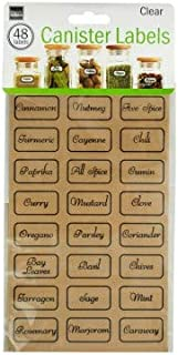 Clear Kitchen Pantry Preprinted Storage Canister Labels Set - 48 Stickers - Tag and Organize Spices, Dry Goods and More!