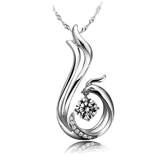 Latigerf Damen Vogel Phönix Anhänger Halskette mit Kette Rhodium Plated 925 Sterling Silber Zirkonia weiß