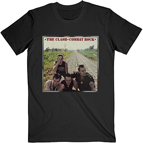 Black The Clash Combat Rock Oficial Camiseta para Hombre (XX-Large)