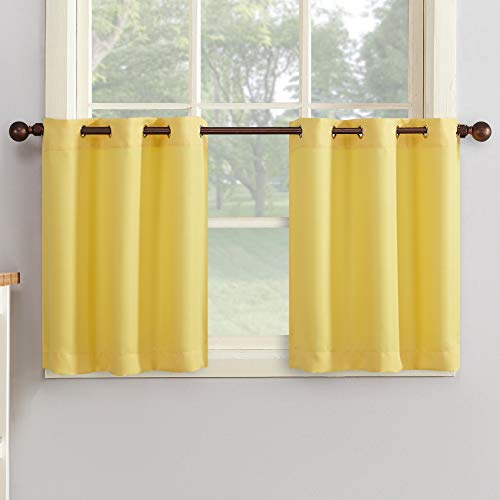 """No. 918 Montego Casual Textured Grommet Kitchen Tier Curtain Pair (Set of 2), 56"""" x 36"""", Yellow"""