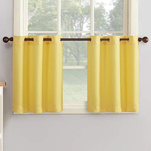 "No. 918 48475 Montego Grommet Textured Kitchen Curtain Tier Pair, 56"" x 24"", Yellow"