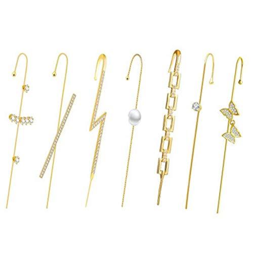 HHYSPA Ear Wrap Crawler Hook Pendientes, Climbers Piercing Set para Regalos para Mujeres, NiñAs Moda úNico Oro Brazalete Pendiente Conjunto JoyeríA del OíDo style3