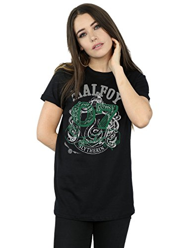 HARRY POTTER Mujer Draco Malfoy Seeker Camiseta del Novio Fit X-Large Negro