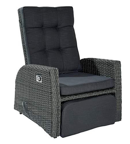 XL Rocking Gartensessel Sessel VIP Barcelona grau mix für die Terrasse oder den Garten - Gartenmöbel Set Terrassensessel mit Fußteil, Schwingfunktion und verstellbarer Rückenlehne + Kissenauflagen