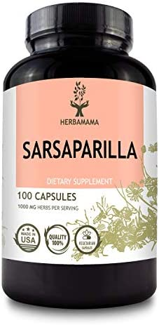 HERBAMAMA Sarsaparilla 100 Capsules 1000mg Organic Smilax Medica Root Nutrition Supplement Non product image