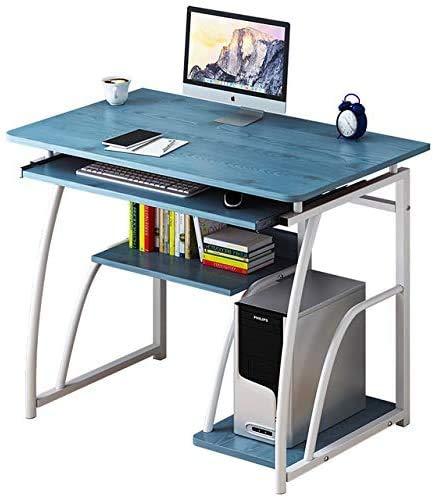 Computadora de escritorio con estantes de almacenamiento, Oficina de escritorio con el soporte del monitor Estantería con bandeja de teclado para el hogar, estudio de la Oficina de estación de trabajo