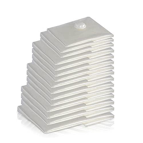 RESTAR Paquete de 12 bolsas de vacío para almacenamiento,(Bolsa de Compresión Enrollada a Mano) para Guardar Ropa, Edredones, Almohadas, Mantas (Transparente, 70X100 CM)