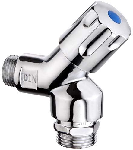 Cornat machine aansluitklep - 1/2 inch AG - voor het aansluiten van wasmachine & vaatwasser - met terugslagklep & beluchter - van messing - verchroomd/schuine klep / TEC301305
