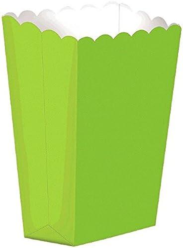 Amscan Large Tall Popcorn Birthday Party Favor Box (10 Piece), 7, Kiwi Grün by Amscan