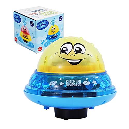 ZZALLLEl baño del bebé de la Bola del espray de Agua de inducción automática eléctrica Juega la luz Colorida - Amarillo