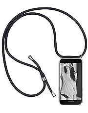 IBEX Funda con Cuerda para Xiaomi Redmi Note 10 / Redmi Note 10S, [Moda y Practico] [ Anti-Choque] [Anti-rasguños] Suave Silicona Transparente TPU Carcasa de movil con Colgante/Cadena, Negro