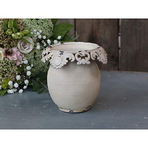 Chic Antique Vaso con Bordo Pizzo H13xØ14cm Vaso Crema Design Antico