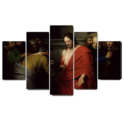 Auferstehung von Jesus wandkunst 5 Panel drucke auf leinwand Poster Christian Christus wohnkultur für Wohnzimmer Schlafzimmer Dekoration,B,30×40×2+30×60×2+30×80×1