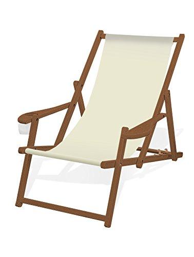 Holz-Liegestuhl mit Armlehne und Getränkehalter, Klappbar, mit dunkelbrauner Lasur, Wechselbezug (Naturweiß)