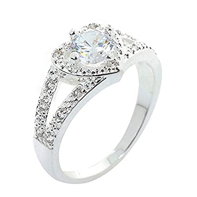 shiYsRL Exquisite Jewelry Ring Love Rings Women 925 Sterling Silver Crystal Love Heart Shaped Ring Bridal Wedding Jewelry Wedding Band Best Gifts for Love with Valentine's Day - US 6
