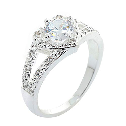 shiYsRL Exquisite Jewelry Ring Love Rings Women 925 Sterling Silver Crystal Love Heart Shaped Ring Bridal Wedding Jewelry Wedding Band Best Gifts for Love with Valentine's Day - US 7