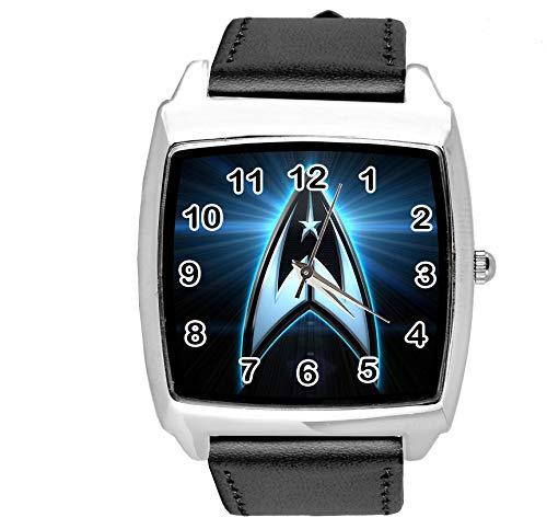 Armbanduhr Analog Quarz mit Echtlederband Schwarz Quadrat für Sci Fi Fans