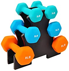 3 pairs of dumbbells in 3-pound, 5-pound, and 8-pound sizes. Ideal for resistance and other trainings The durable, neoprene material coated cast iron is great for indoor and outdoor workouts Neoprene coating on weights allow for a secure grip. The he...