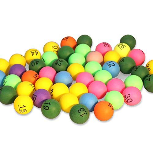 Festnight 50 Piezas número Impreso Bolas de Ping Pong 40mm Bolas de rifa de Colores Entretenimiento Pelotas de Tenis de Mesa Colores Mezclados para Juego