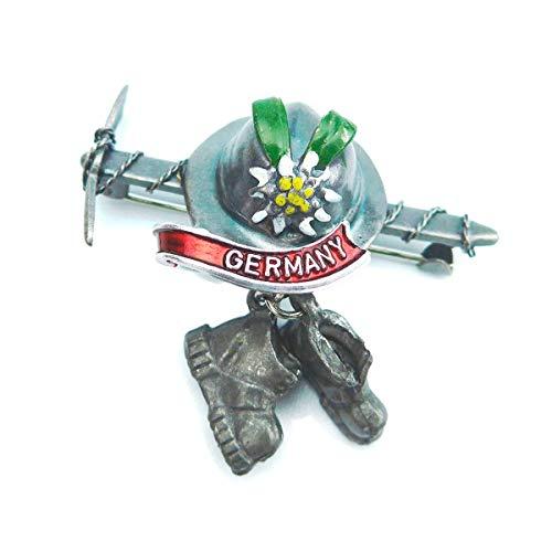 Oktoberfest Deutsche Hut Pin von E.H.G | Metall Eisaxt & Wanderstiefel | Deutschland Banner
