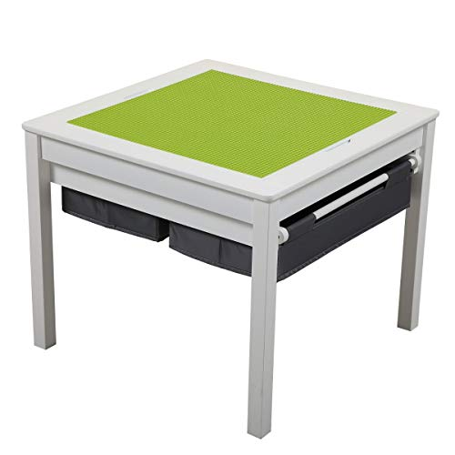 3 in 1 Kids Activity Table Construction Play Desk Table with Storage Drawers and Built in Plate Game Table Learning Toys for Boys and Girls with Blocks, Puzzles, Flying Chess and Drawing Board, White