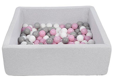 Velinda Bällebad Ballpool Kugelbad Bällchenbad Kinder-Pool mit 150 Bällen/90x90cm (Farbe der Bälle: weiß,Rosa,Grau)