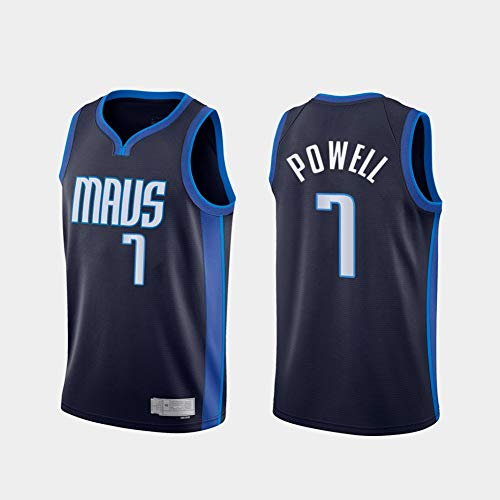 TPPHD Jerseys de Baloncesto para Hombres, NBA Dallas Mavericks # 7 Dwight Powell CLÁSICO Swingman Jersey, Tela Respiradora Fresca Vintage All-Star Unisex Fan Uniforme,L